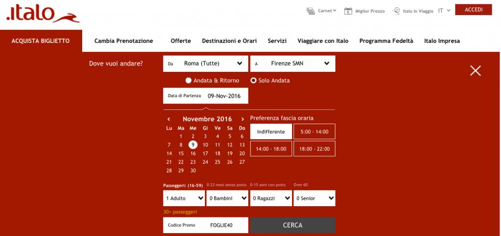 codice promo italo novembre 2019