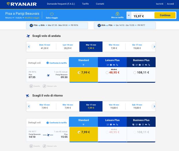 prezzo voli low cost per parigi da pisa