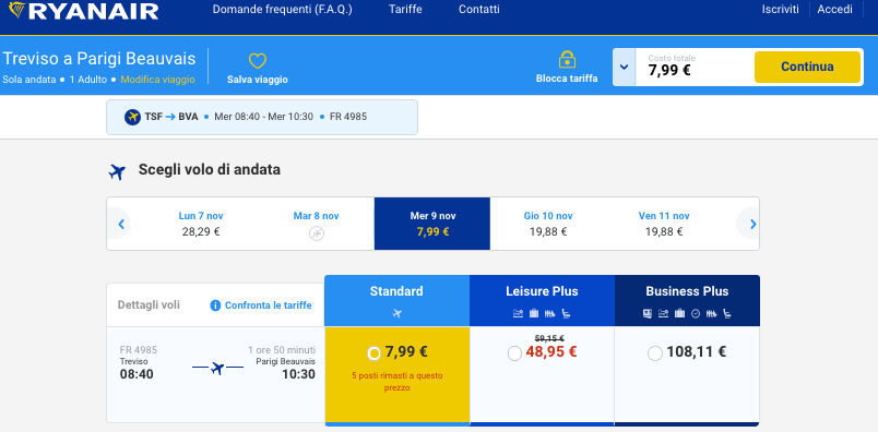 voli low cost per parigi da treviso