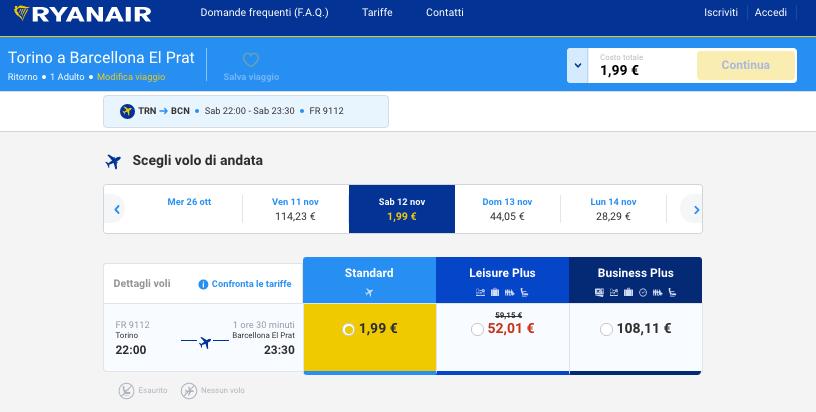 voli ryanair 2 euro torino