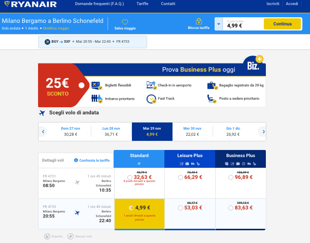 voli low cost ryanair 5 euro berlino