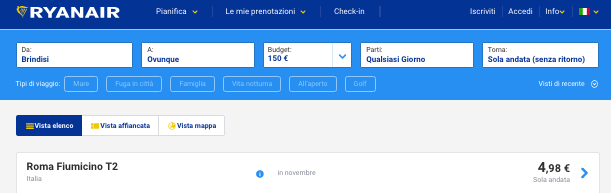 voli low cost ryanair 5 euro puglia