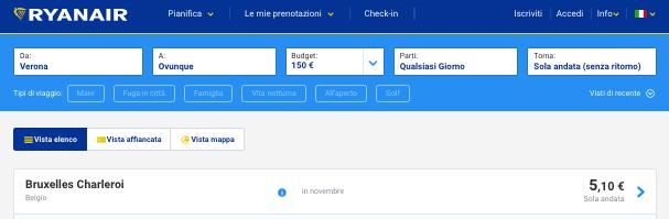 voli low cost ryanair 5 euro verona