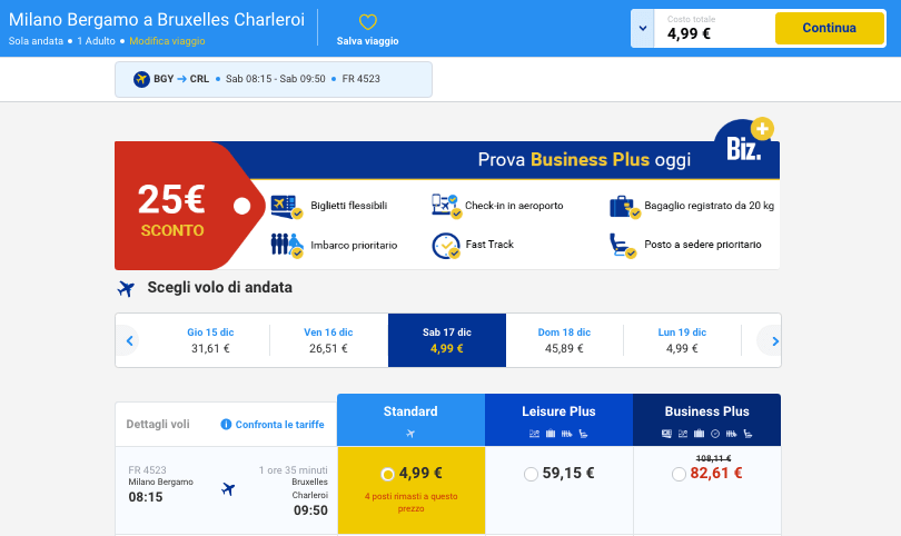 voli low cost ryanair 5 euro