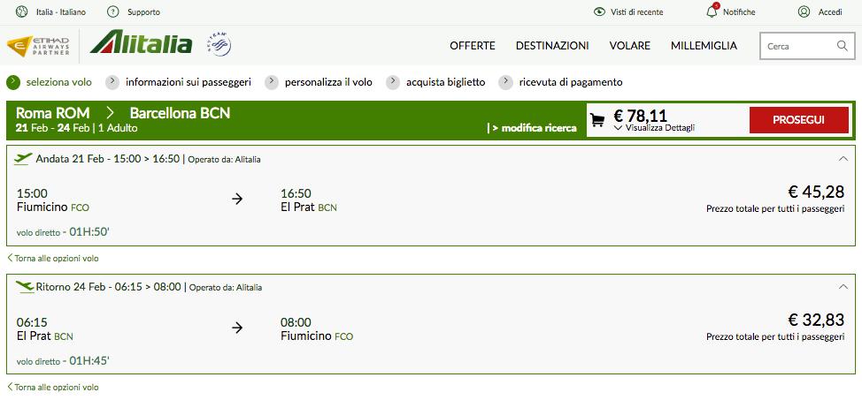 offerta alitalia 2017