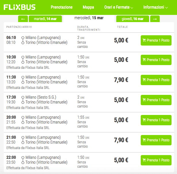 biglietti flixbus 5 euro