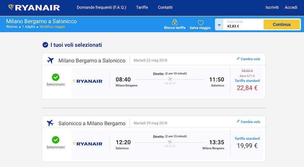voli low cost ryanair grecia