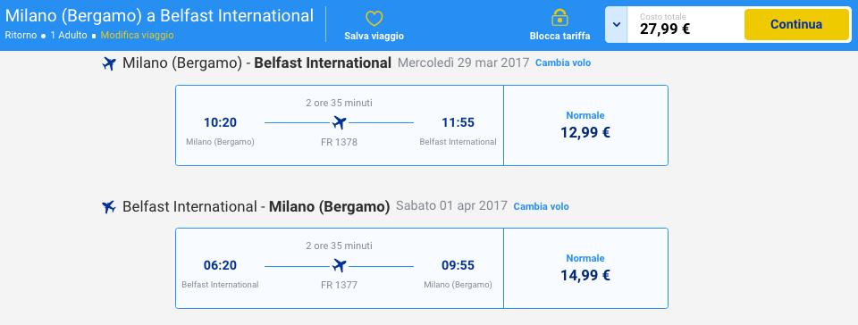 volo low cost irlanda 2017