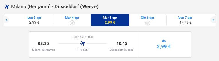 volo ryanair 3 euro