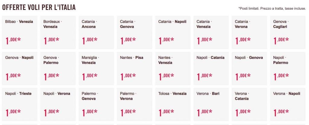 voli low cost volotea 1 euro
