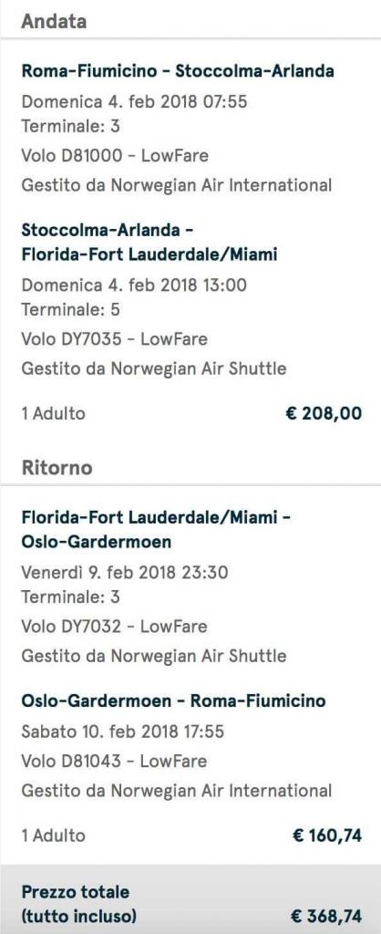volo low cost per miami