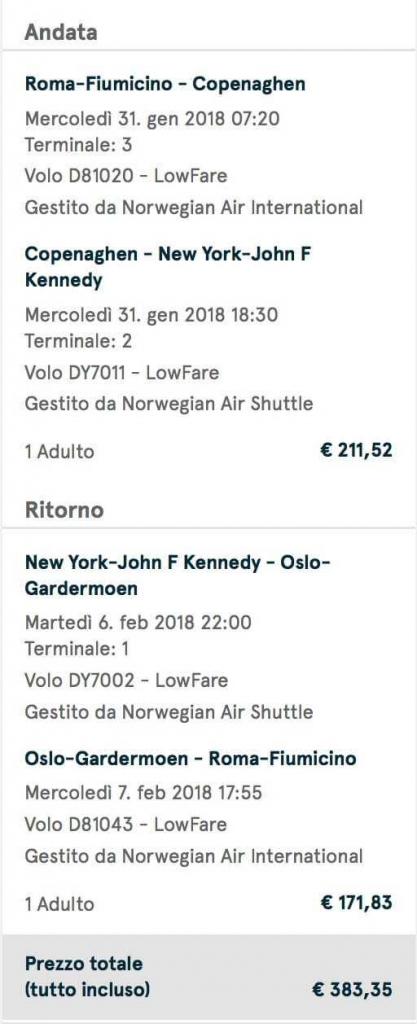 volo low cost new york con norwegian
