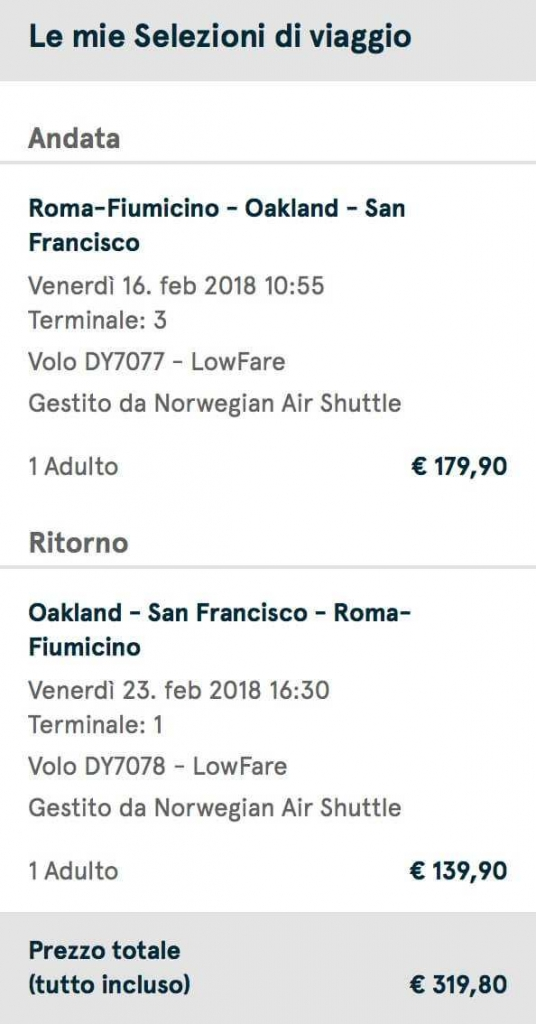 voli low cost california