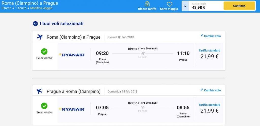 volo low cost per praga da roma