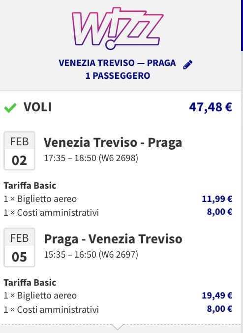 volo low cost per praga da venezia