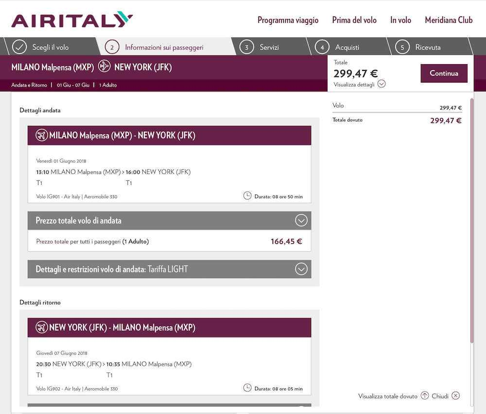 air italy voli new york