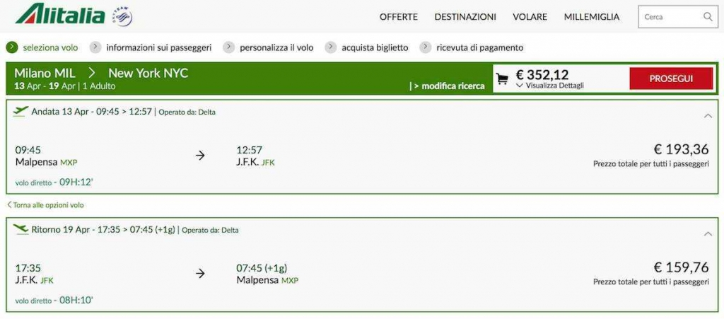 volo low cost alitalia usa