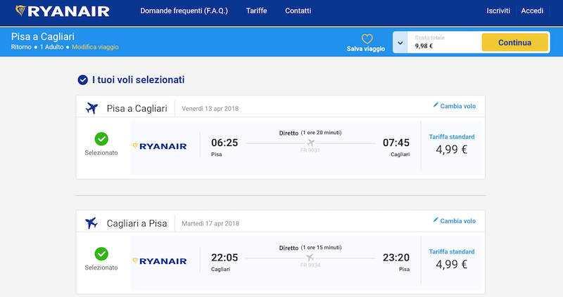 volo low cost ryanair