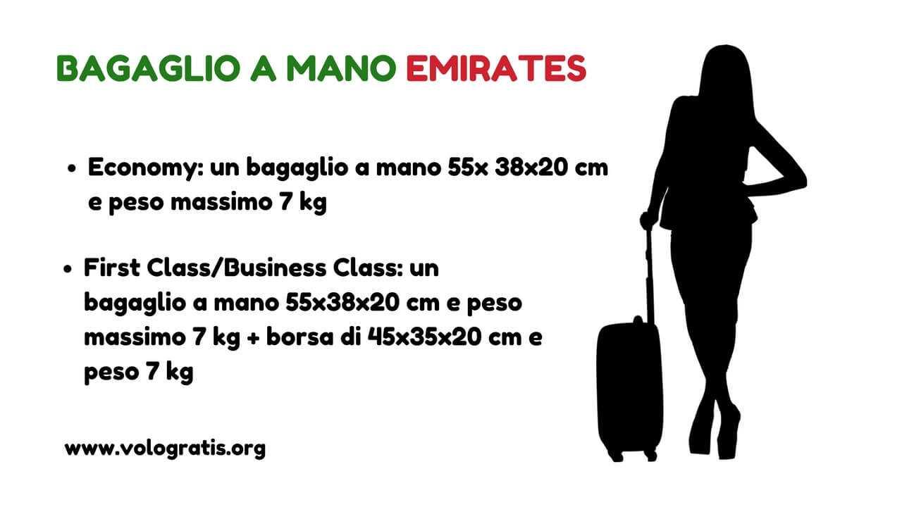 emirates bagaglio a mano e da stiva peso e dimensioni