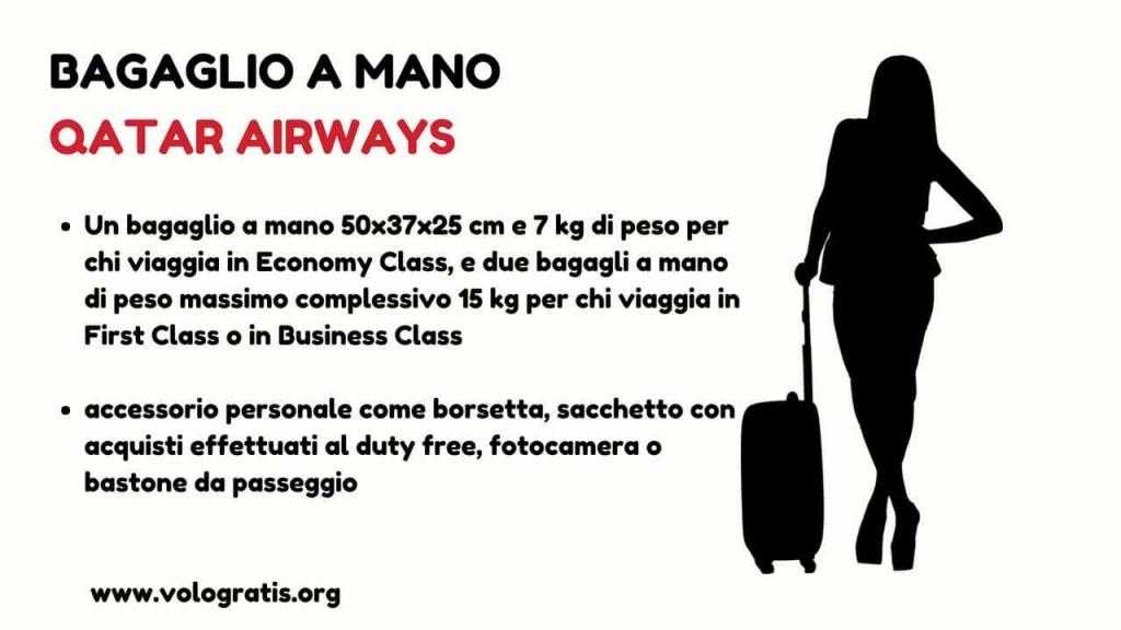 bagaglio mano qatar airways