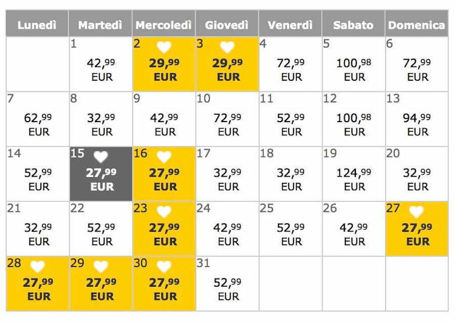vueling yellow prices