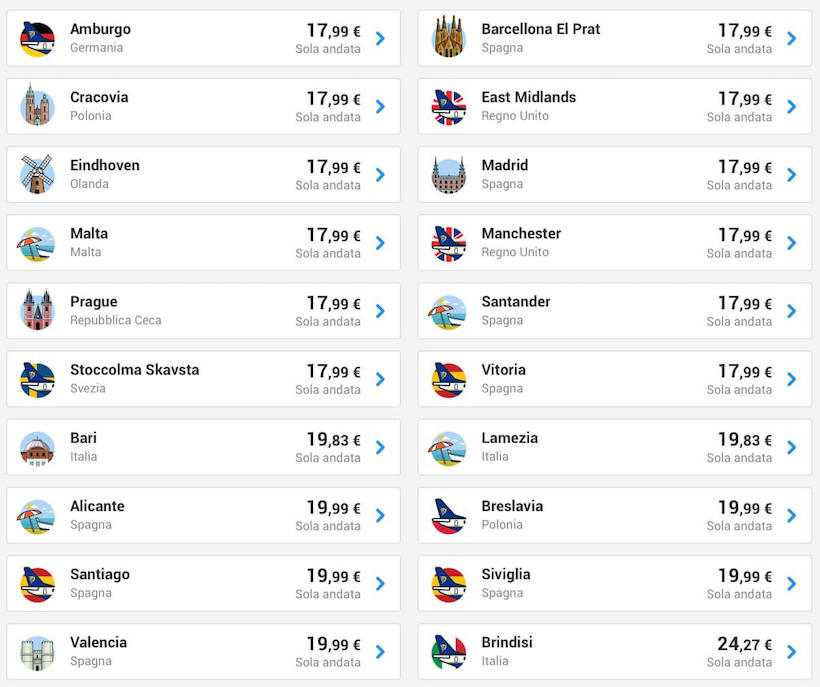 voli low cost ryanair milano maggio 2019 2