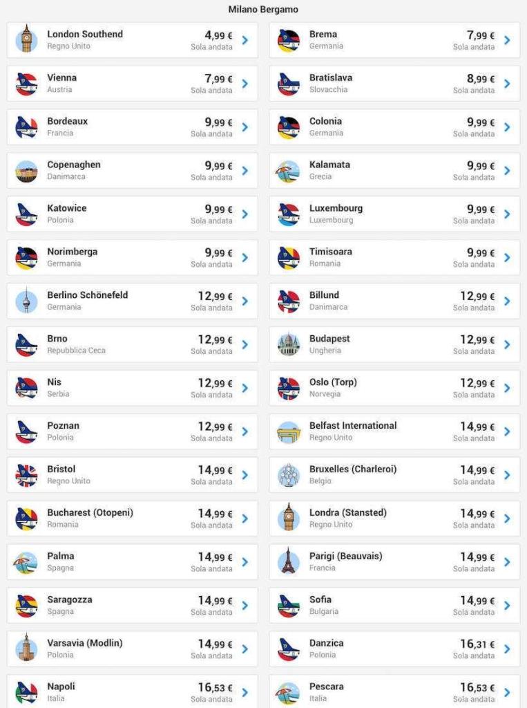 voli low cost ryanair milano maggio 2019