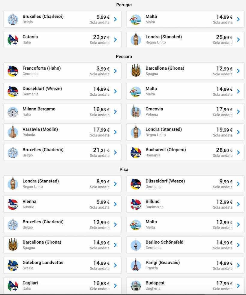 voli low cost ryanair pescara maggio 2019